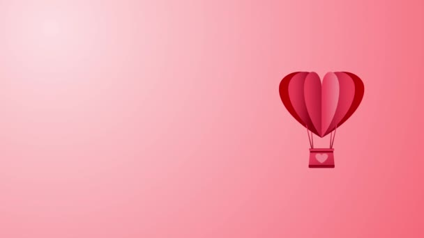 Hot Air Balloon animation seamless loop with copy space for your text. Love, passion and celebration concept background for Valentines Day, wedding anniversary.