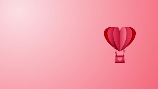 Hot Air Balloon animace bezešvé smyčky s kopírovacím prostorem pro váš text. Láska, vášeň a oslava koncept pozadí pro Valentýna, výročí svatby.