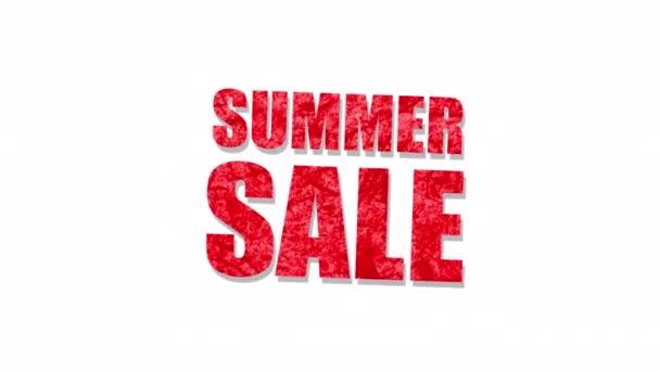 Summer Sale piros szöveges szó levél fehér háttér. Alpha Channel beleértve elszigetelt fekete színű. Elem koncepció a promóciós értékesítés és a vámkezelés értékesítésére és az értékesítési idény előmozdítására.