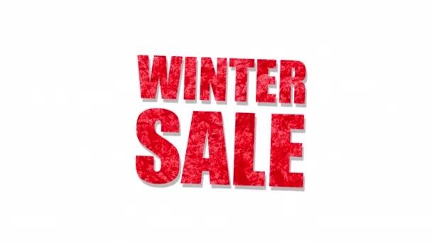 Winter Sale roter Text Wort Buchstabe auf weißem Hintergrund. Alpha Channel enthalten isoliert auf schwarzer Farbe. Element-Konzept für Promotion-Verkauf und Räumungsverkauf und für Promotion-Saison.