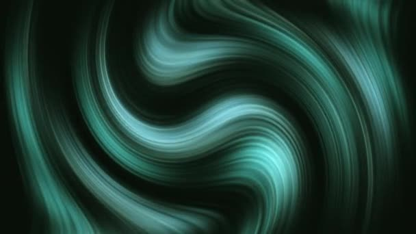 Abstract seamless loop light blue green twisted gradient on dark background. 3d render stripes rippling. Futuristic geometric patterns fluid trendy motion background design smooth color transition.
