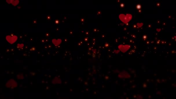 Abstract Magic red hearts flying with glow bokeh and reflection background.   4K Flying Love Hearts Shapes For Valentines Day, Love, Romance. Background Looping Animation.