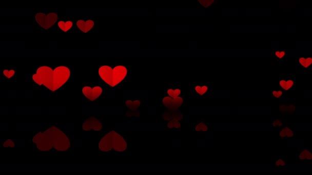 Animované pozadí. Létající srdce z červeného papíru s podlahovým odrazem. Animace smyčky. Láska, vášeň a oslava koncept pozadí pro Valentýna, Den matek, výročí svatby.