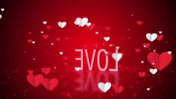 Vznášející se bílá a červená papírová srdíčka s textem Love na podlaze a odrazem. Láska, vášeň a oslavy koncept pozadí pro Valentýna, Den matek, výročí svatby, láska abstraktní.