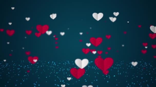 Animation of beautiful Floating white and red paper hearts on dark blue background. Love, passion and celebration concept background for Valentines Day, Mothers Day, wedding anniversary