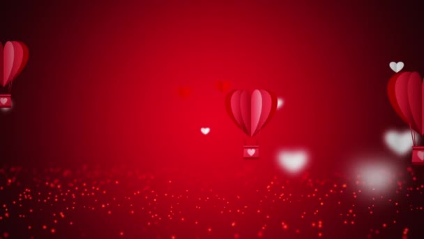 Seamless Loop Flying red heart shape  Hot Air Balloons.  Abstract looping background for Love, passion and celebration. Concept background for Valentines Day, Mothers Day, wedding anniversary.