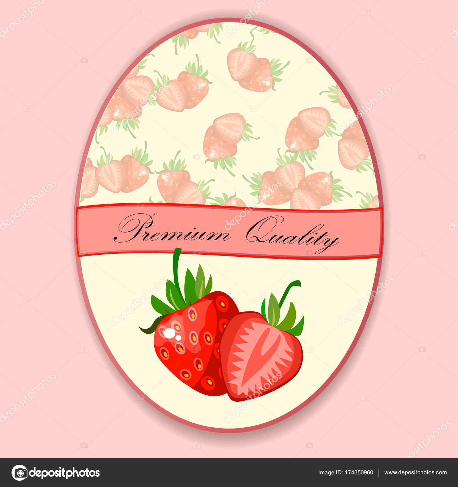 Vector etiqueta, mermelada de fresa o jugo — Vector de stock ...