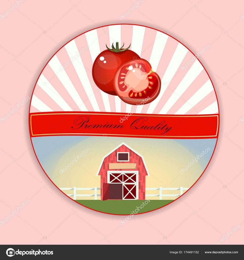 トマト ラベルのビンテージ ポスター テンプレート ストックベクター