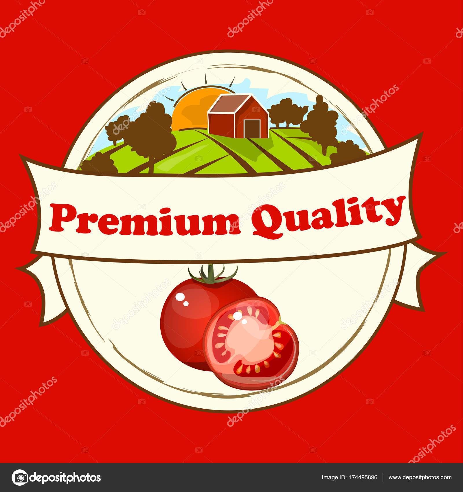 vintage poster template for tomato label stock vector stellal