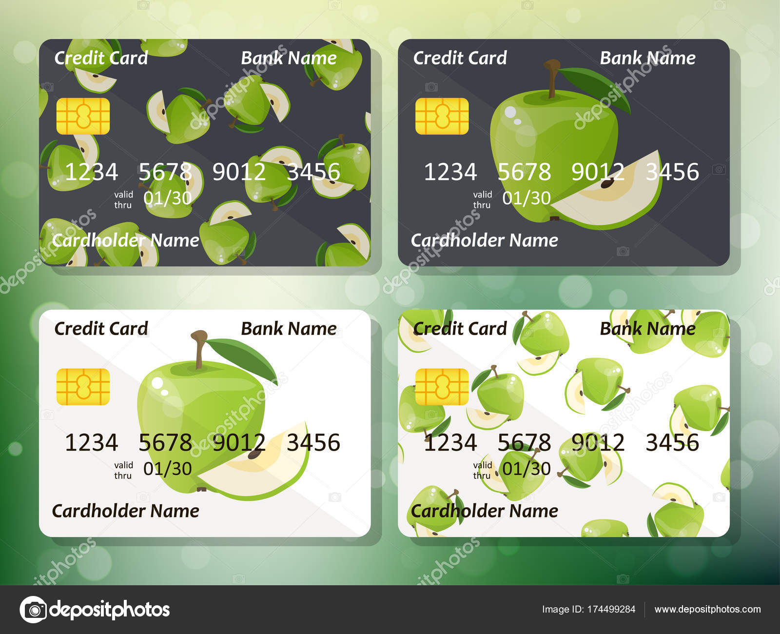 Credit card design stock vector stellal 174499284 credit card design with juicy green apple business colection organic bank collection best choice for credit or gift card vector by stellal reheart Image collections