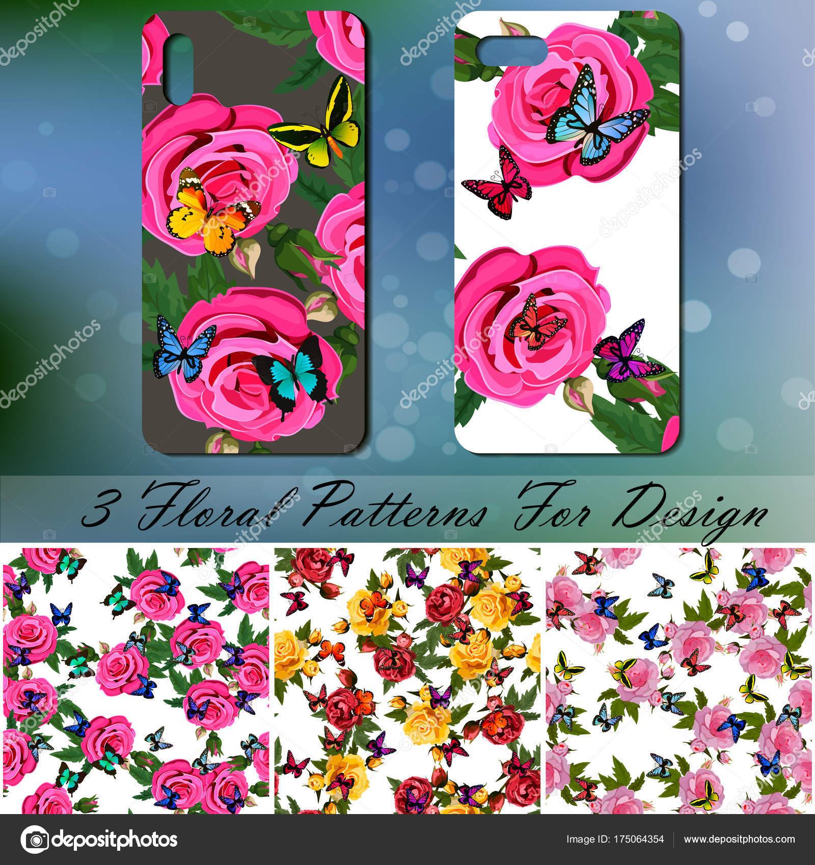 Copertura Del Telefono Con Rose E Farfalle Vettoriali Stock