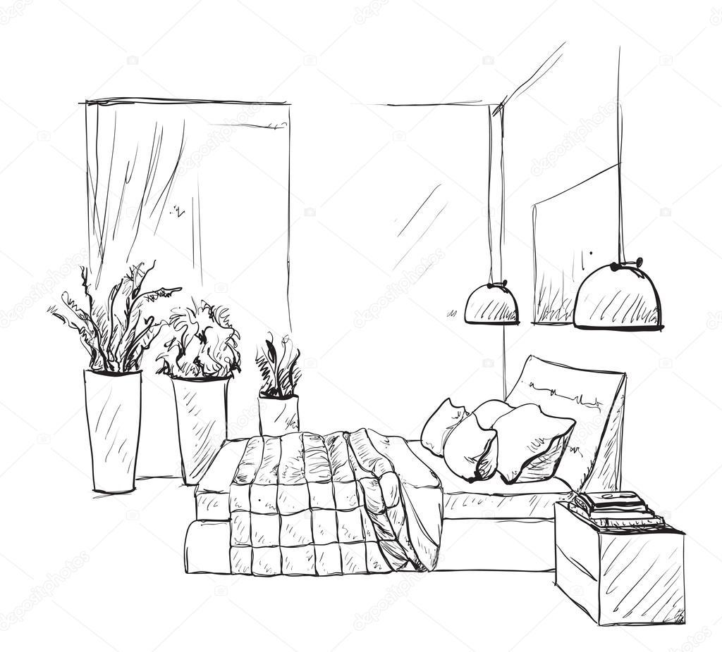 침실 현대 인테리어 스케치 가구 — 스톡 벡터 © Yuliia25 #126347350