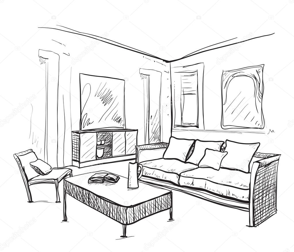 Hand Drawn Room Interior. Furniture Sketch.