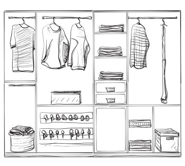 Hand drawn wardrobe sketch. Clothes and foot.
