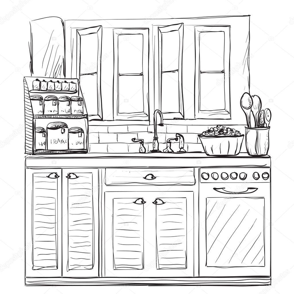 Disegno interno della cucina illustrazione vettoriale for Disegno cucina
