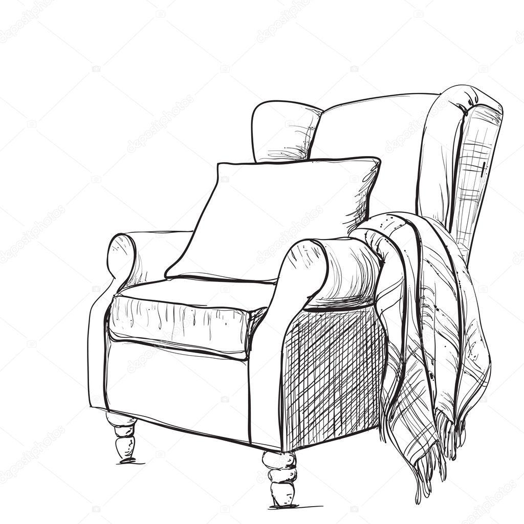 Cozy Armchair And Warm Blanket Stock Vector 169 Yuliia25