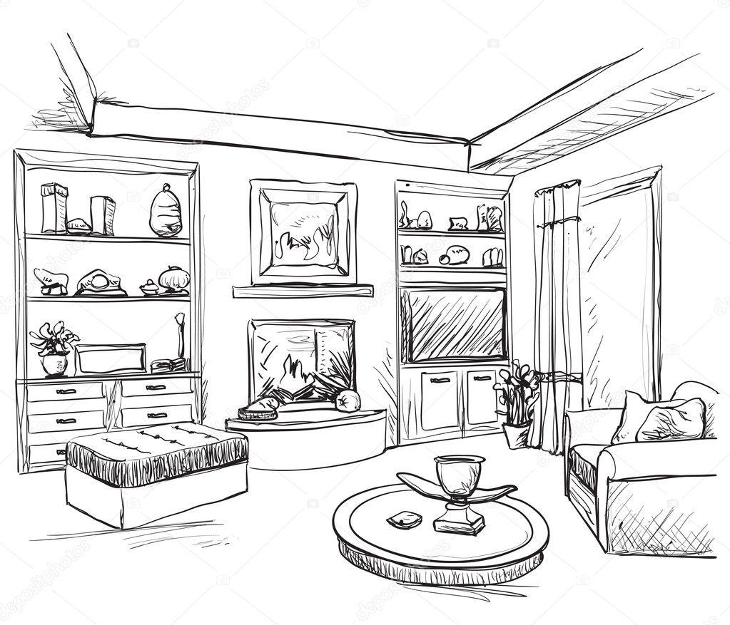 interior de habitación dibujada mano. dibujo de muebles ? vector ... - Dibujo De Muebles