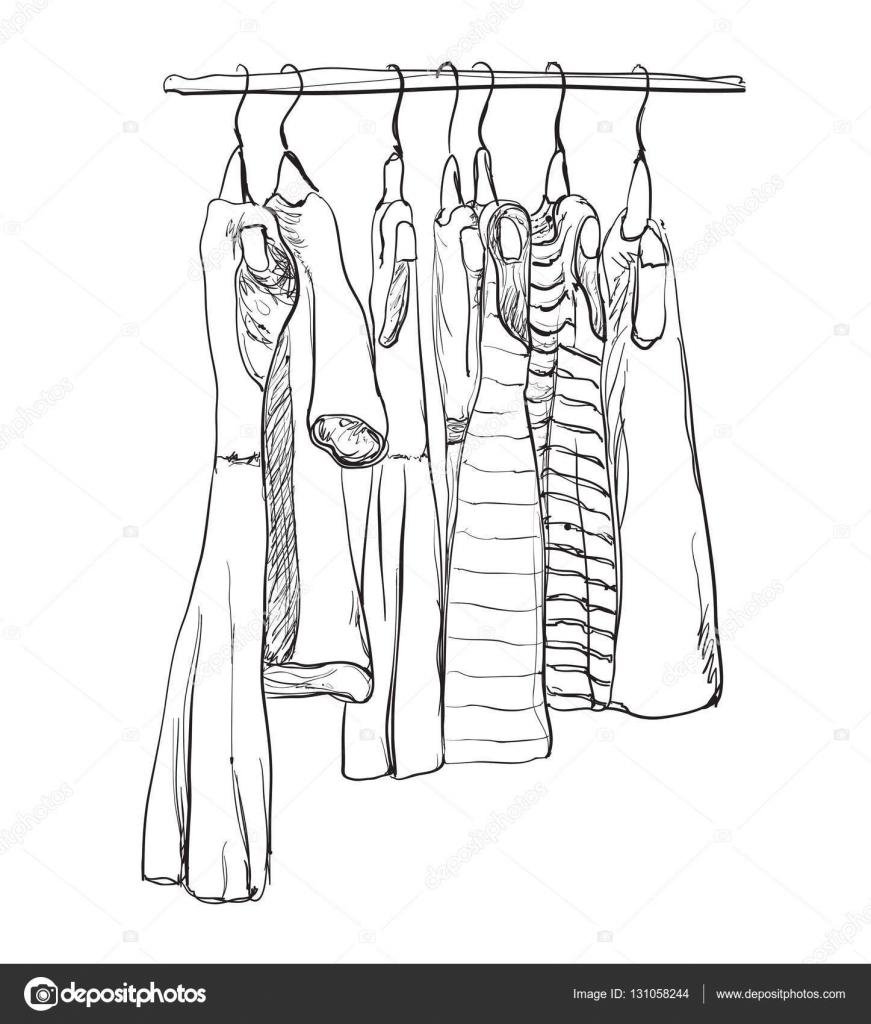 Schrank gezeichnet  gezeichnete Kleiderschrank. Kleid — Stockvektor #131058244