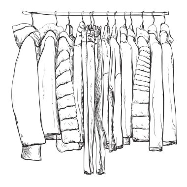 Hand drawn wardrobe sketch. Warm clothes.