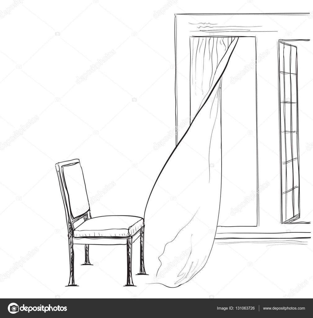 Stuhl gezeichnet  innen Skizze. Hand gezeichnet Stuhl und Fenster — Stockvektor ...
