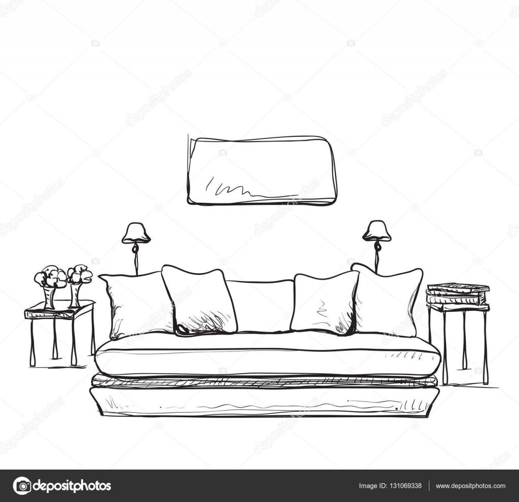 Dibujo del interior de la sala de estar moderna vector for Sala de estar dibujo