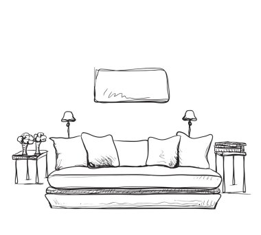 Sketch of modern living room interior