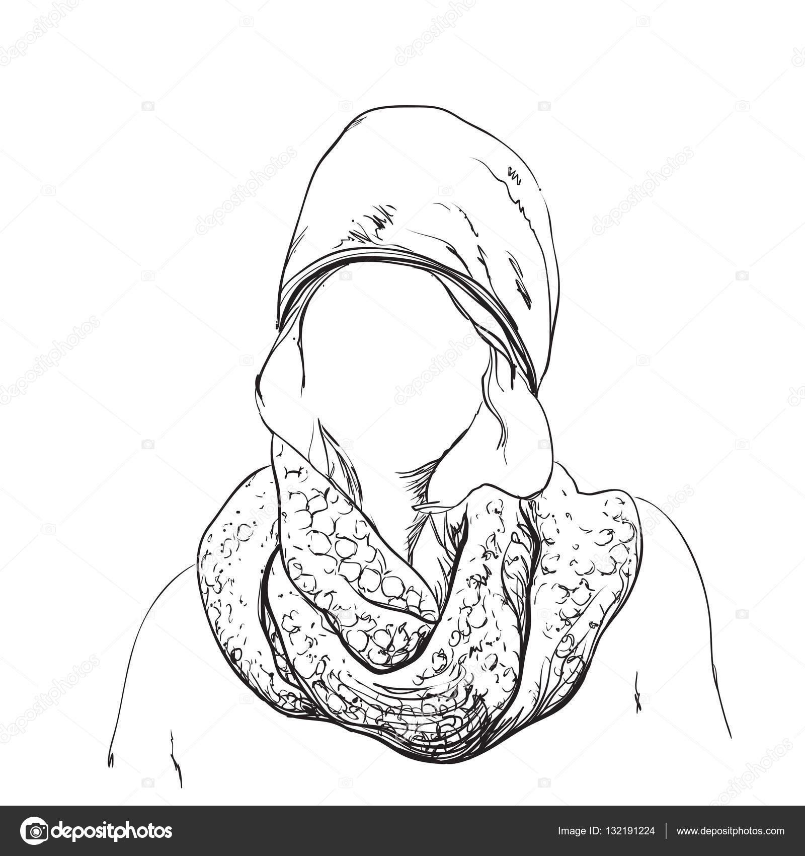 Mujer hermosa en invierno bufanda y sombrero. Ilustración de moda ...