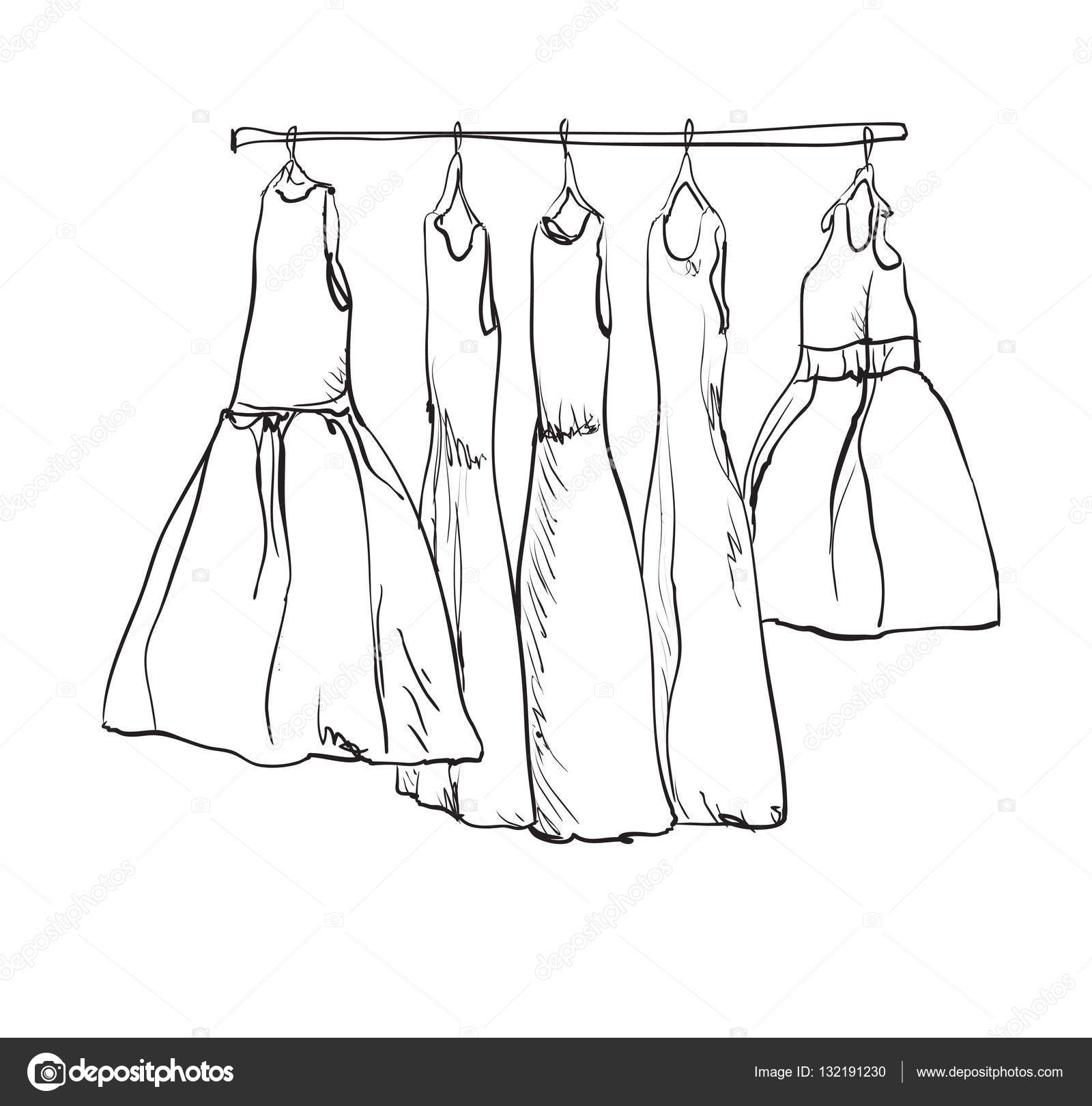 Schrank Gezeichnet Gezeichnete Kleiderschrank Fur Kinder Kleid Stockvektor 132191230