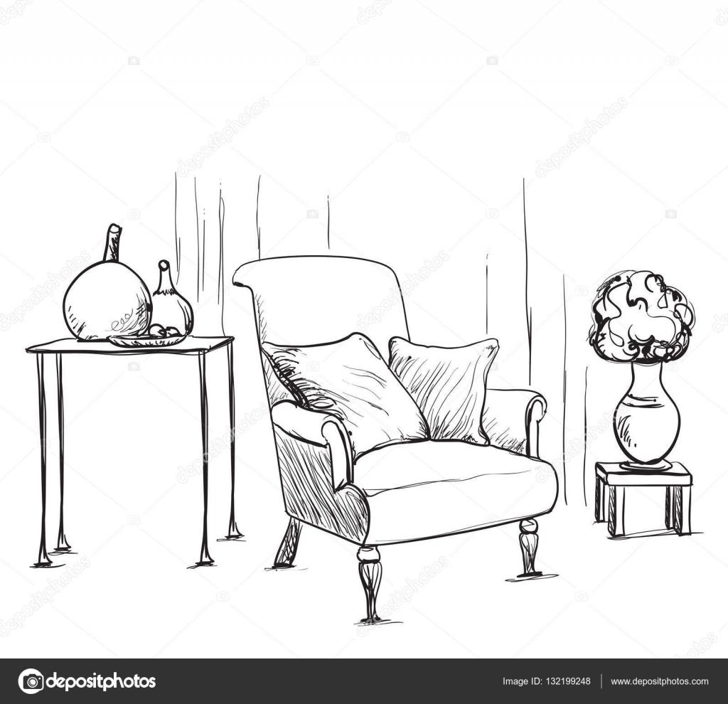 Stuhl gezeichnet  gezeichnet Innenraum. Stuhl und Lampe — Stockvektor #132199248