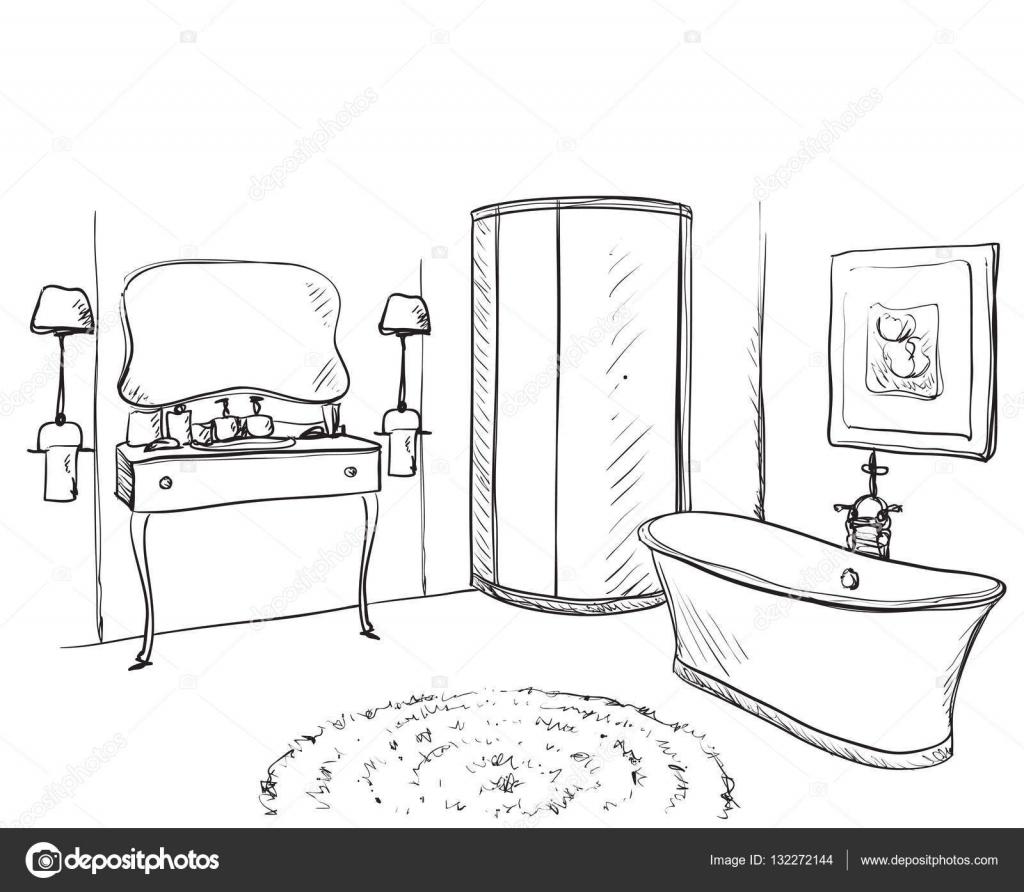 mano dibuja el cuarto de baño. dibujo de muebles ? archivo ... - Dibujo De Muebles