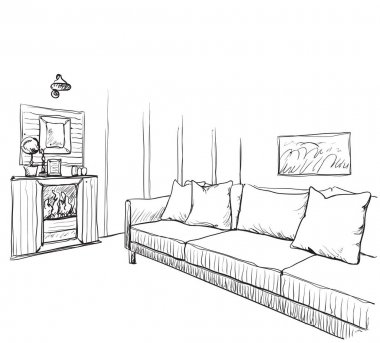 Hand drawn room interior sketch.