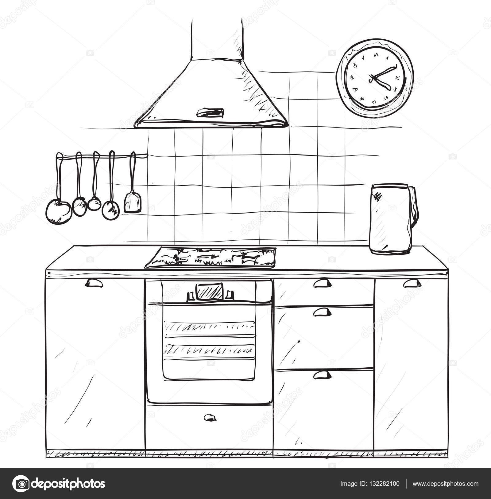 Cocina dibujado de la mano. Dibujo de muebles — Archivo Imágenes ...