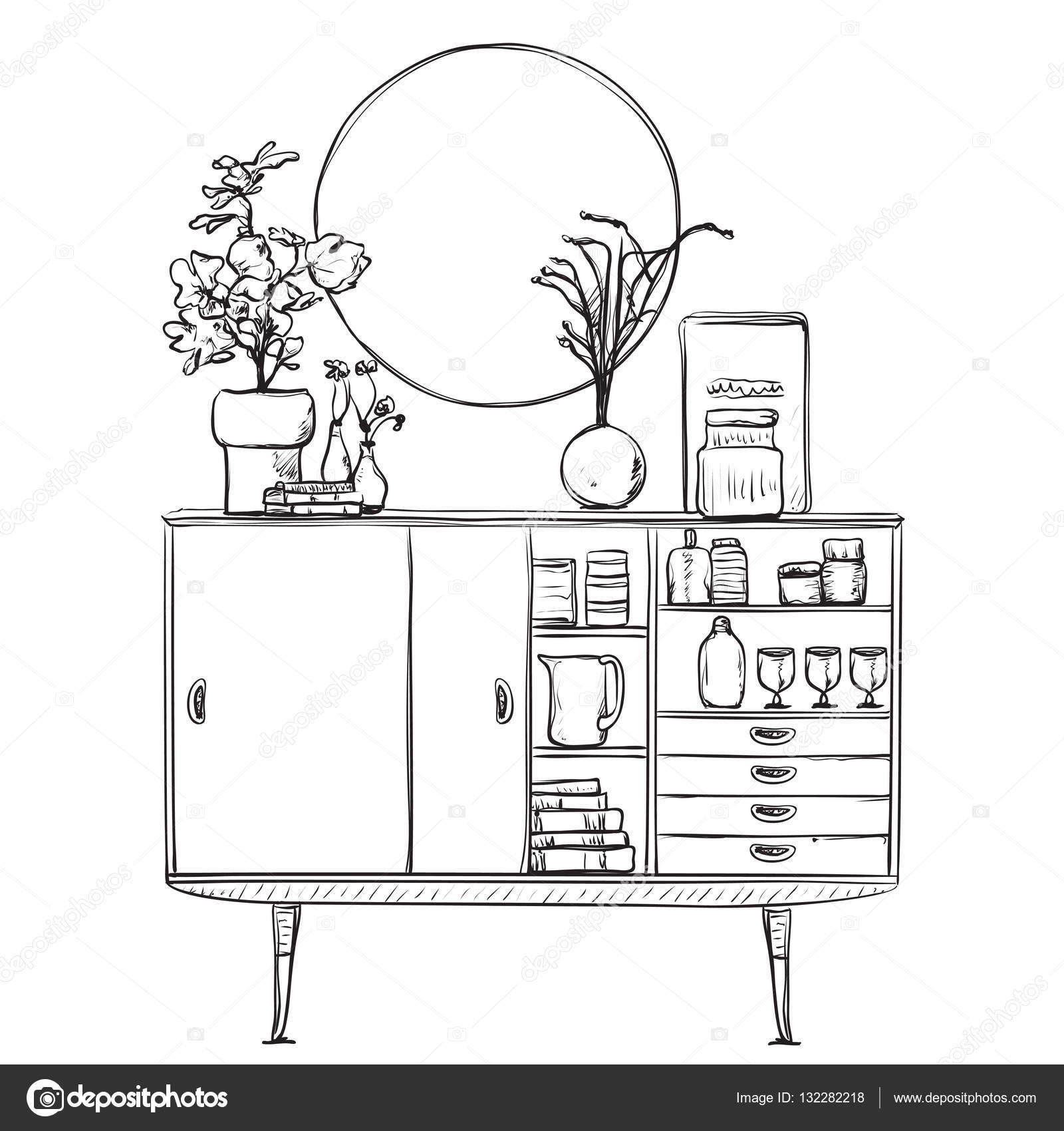 Schrank gezeichnet  gezeichnet Schrank mit Geschirr. Möbel — Stockvektor #132282218