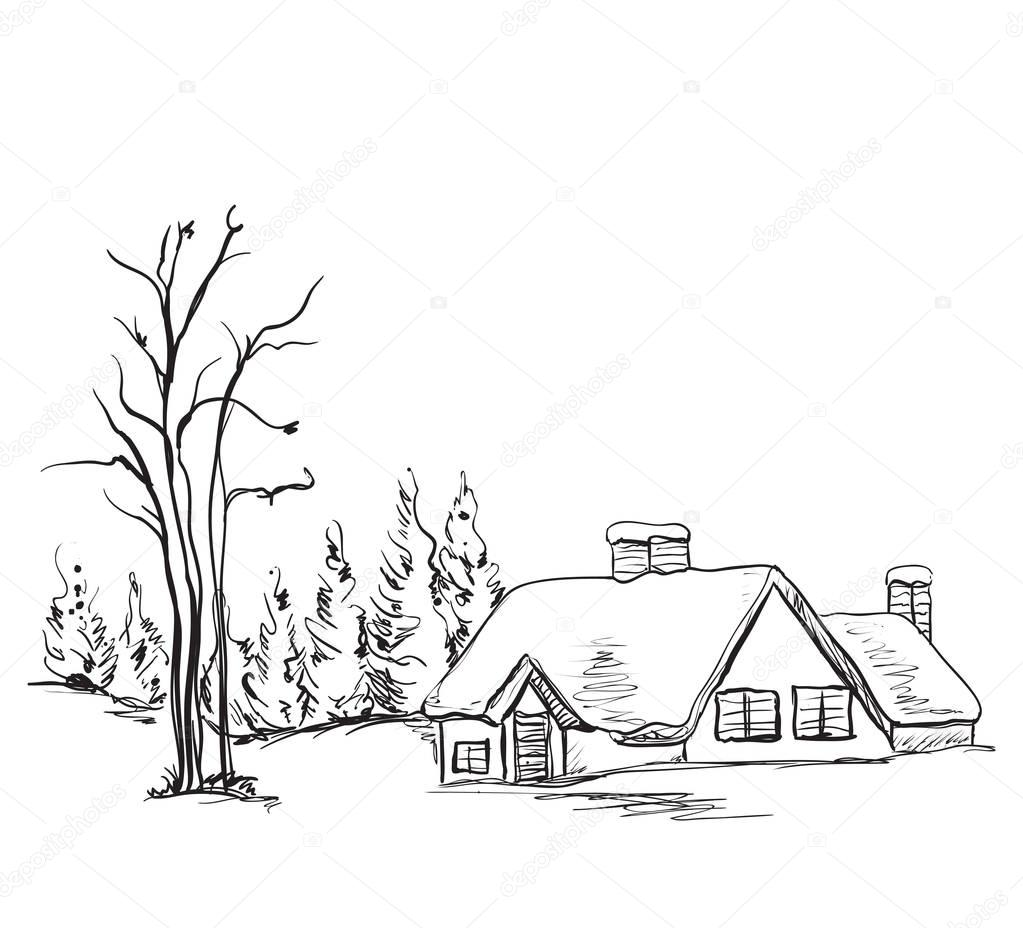 Winter background, house and tree in the landscape