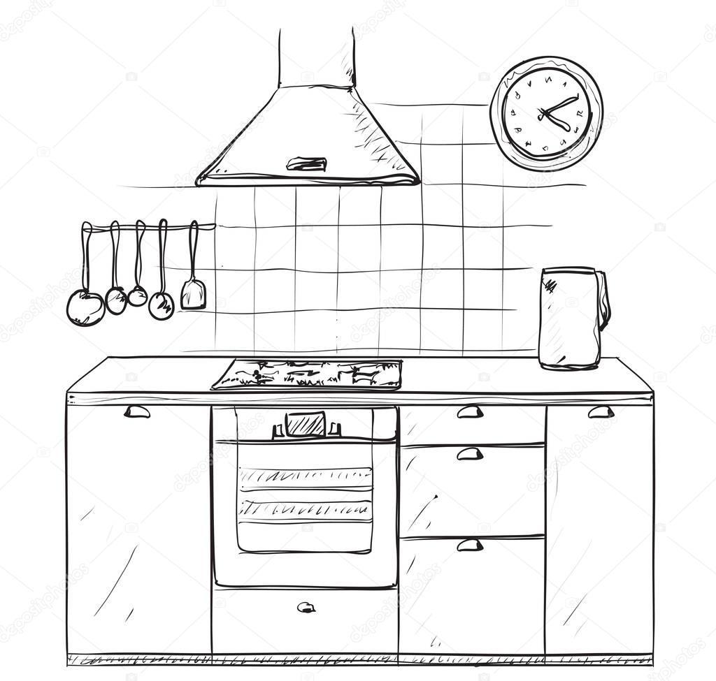 Kitchen Layout Sketch: Hand Gezeichnete Küche. Möbel-Skizze