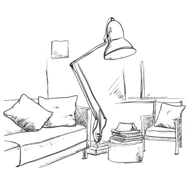 Modern interior hand drawing vector.