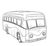 Photo Hand drawn cartoon bus