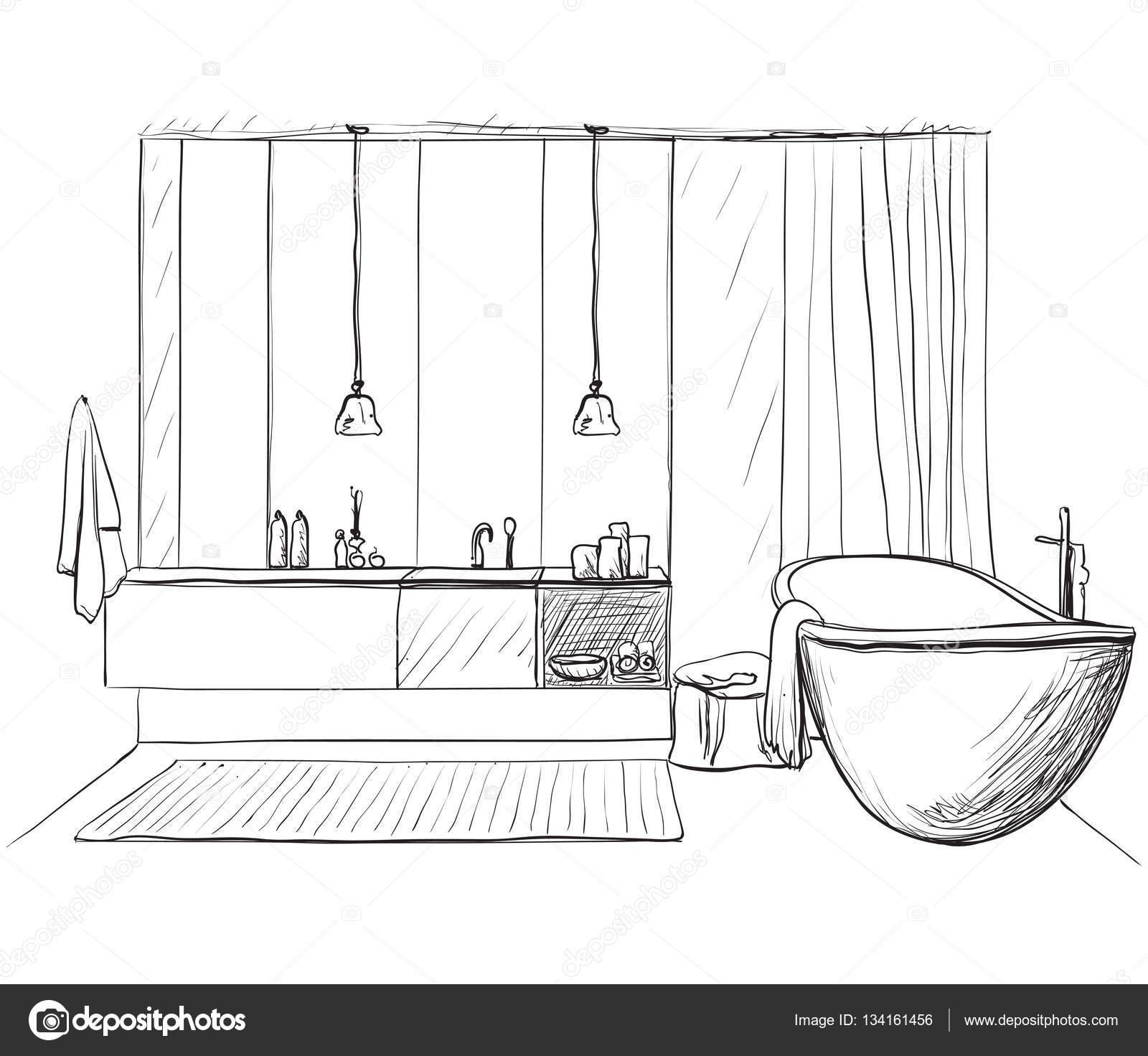 Hand Drawn Bathroom Stock Vector 134161456