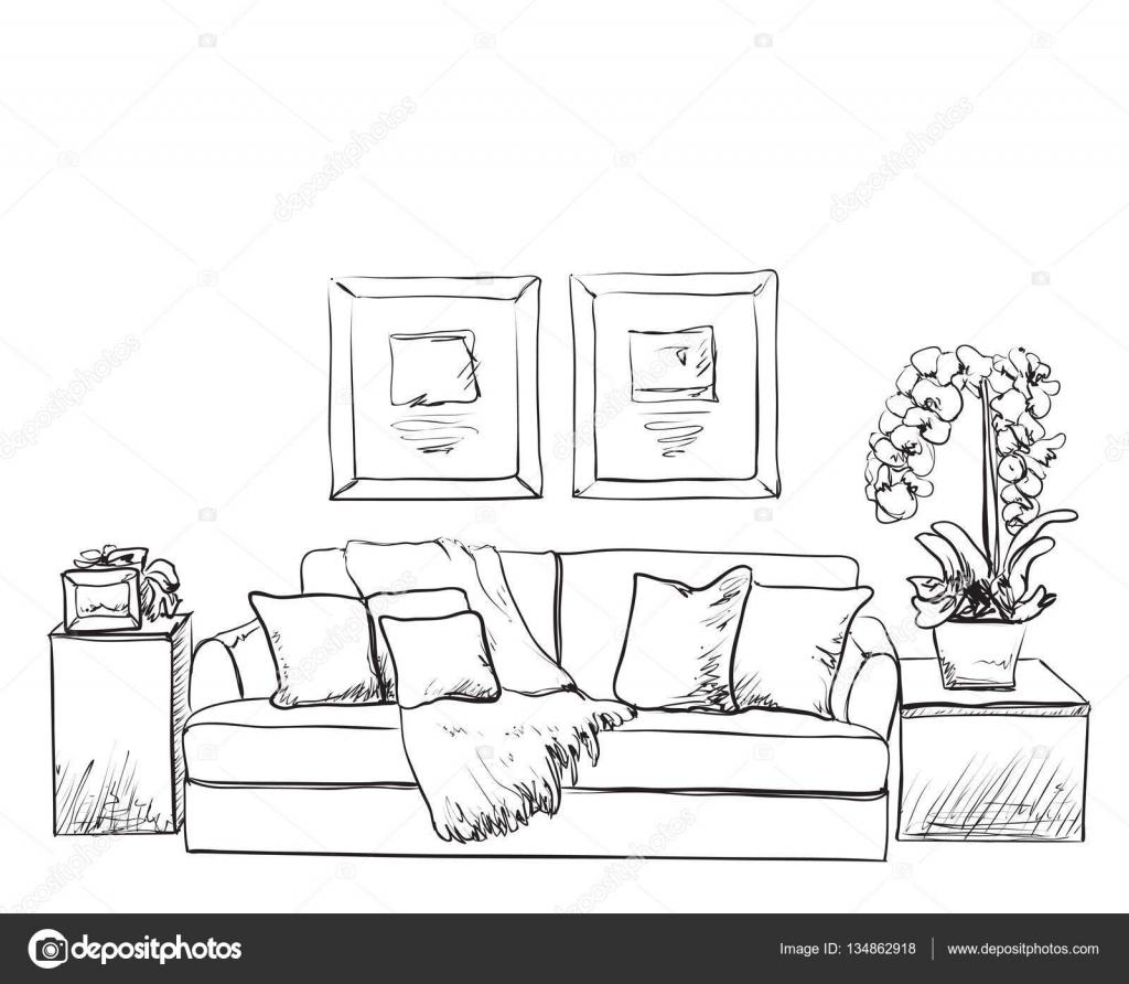 Sofa gezeichnet  Innenraum Skizze. Hand gezeichneten sofa — Stockvektor #134862918