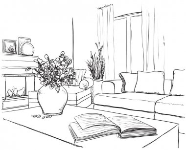 Modern interior room sketch.