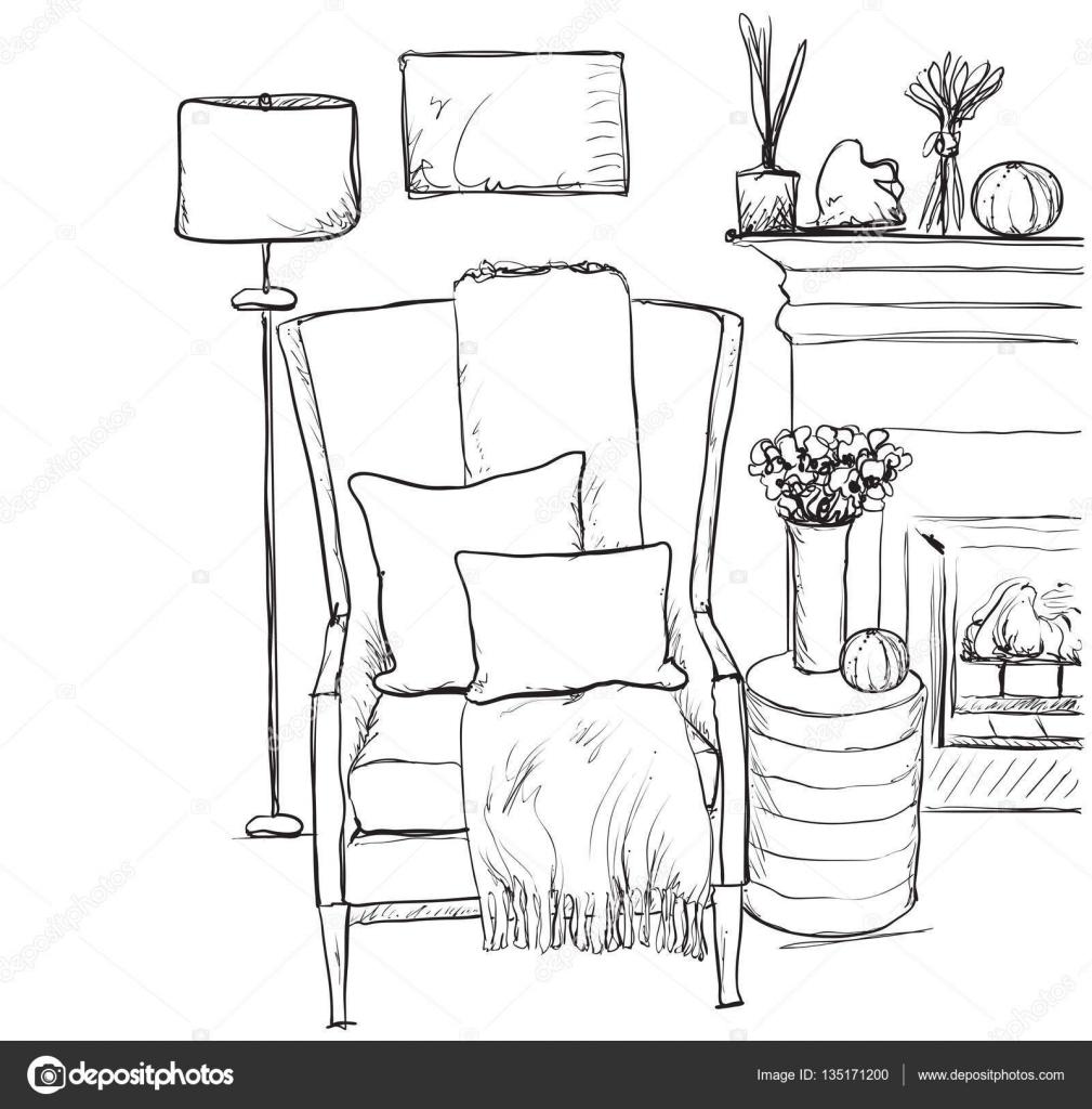 Wohnlandschaft Mit Sessel Und Kamin Entspannen Sie Sich