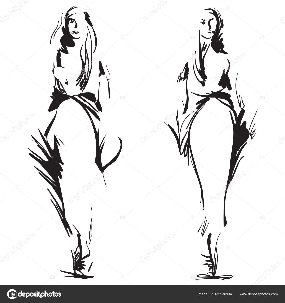 Fashion models silhouettes sketch hand drawn — Stock ...