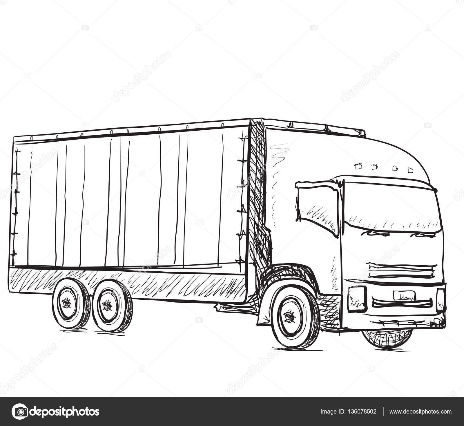 Skizze-Logistik und Lieferung-Poster. Handgezeichnete LKW ...