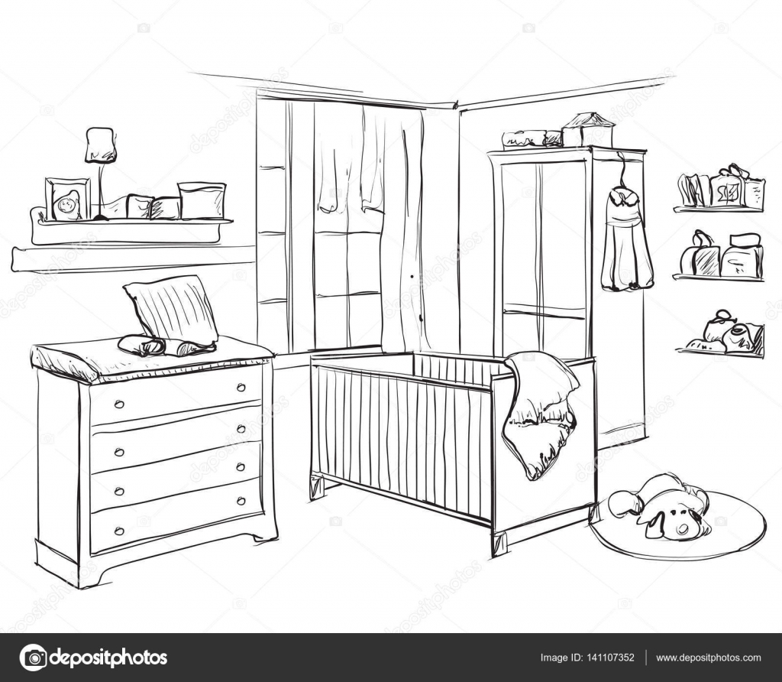 Dibujo de habitacion de ni o mano dibuja la habitaci n - Dibujos habitacion bebe ...