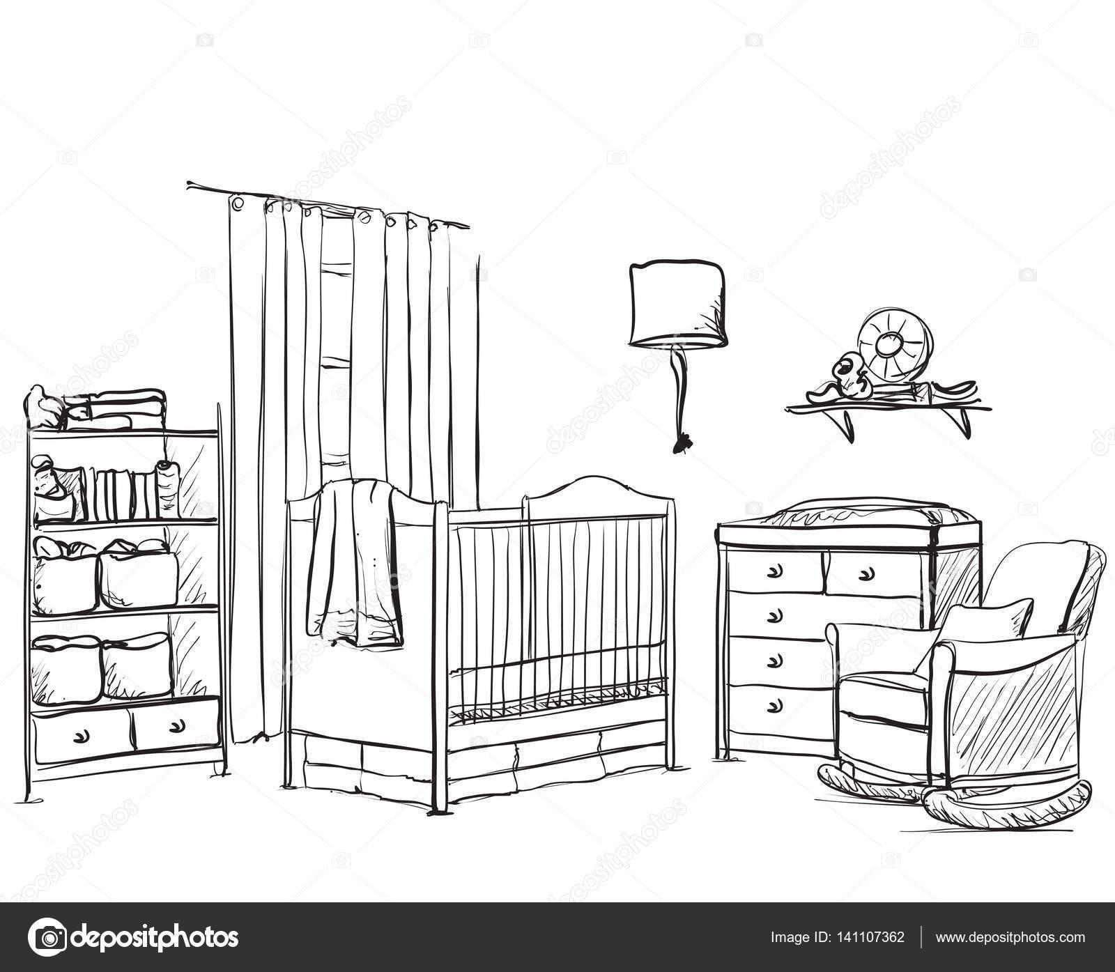 mano dibuja la habitación de los niños. dibujo de muebles ... - Dibujo De Muebles