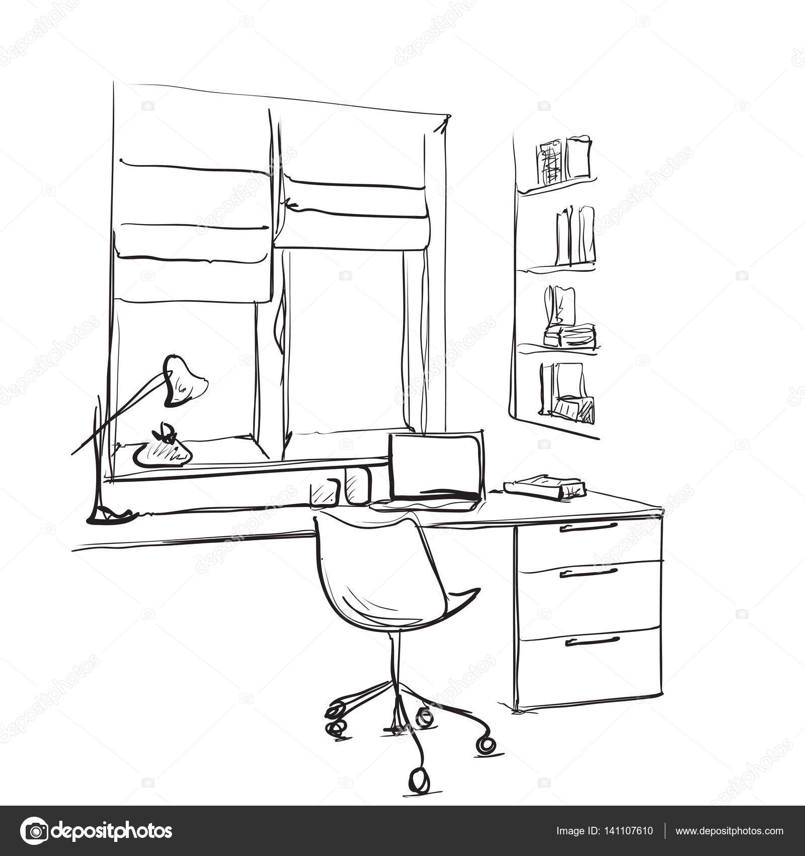 Hand drawn sketch of modern workspace with work table lamp and hand drawn sketch of modern workspace with work table lamp and computer stock vector aloadofball