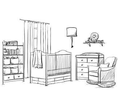 Hand drawn children room. Furniture sketch.