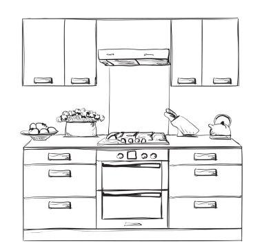 Kitchen furniture sketch. Hand drawn cupboard.