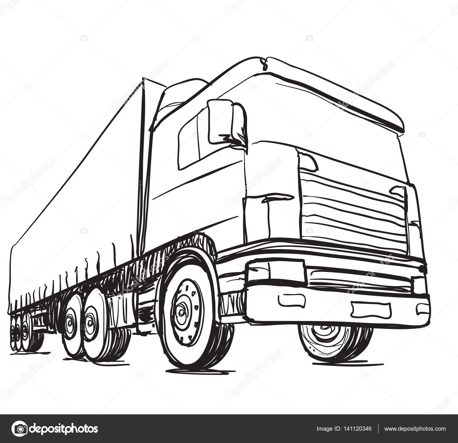 Sketch logistics and delivery poster. Hand drawn truck — Stock ...