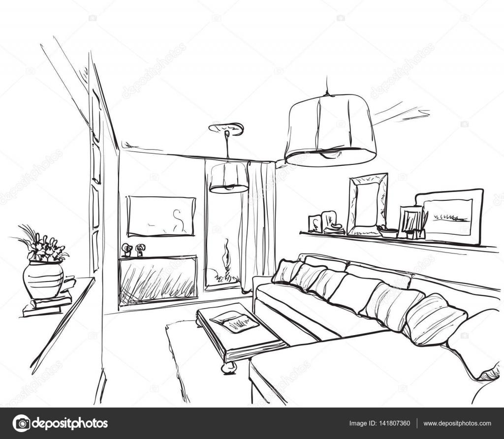 Sofa gezeichnet  innen Skizze. Hand gezeichneten Sofa und Möbel — Stockvektor ...